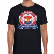 Bellatio Decorations Zwart Holland drinking team rwb t-shirt heren