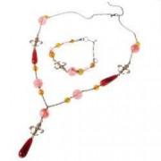 Set bijuterii GANELLI- colier lung bratara cercei din pietre semipretioase Piatra Dragonului Cuart cherry