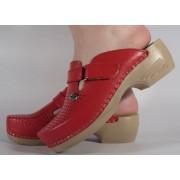Saboti/Papuci rosii din piele naturala dama/dame/femei (cod 159)