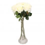 Bellatio flowers & plants Woondecoratie smalle vaas met 8 witte rozen