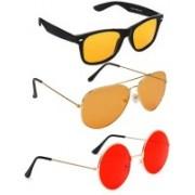 Elligator Aviator, Wayfarer, Round Sunglasses(Yellow, Orange, Red)