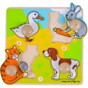 Puzzle incastru din lemn - Animalele de companie, 4 piese