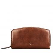 Maxwell-Scott schlanke Damen Leder Geldbörse mit Reißverschluss in Braun - Ponticelli - Brieftasche, Portemonnaie, Geldbeutel, Kreditkartenetui