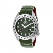 Shield Caruso Leather-Band Pro-Diver Swiss Watch w/Date - Silver/Green SLDSH0903