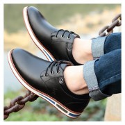 Zapatos De Ecocuero Aumento De Altura Para Hombres - Negro