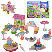 Peppa Pig House Party Fun Blocks - Treehouse, Fishing Pool with Peppa Boat, Disco Party Playdate Building Set - Mega Blocks