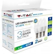 Žarulja LED E14 5.5W, toplo svjetlo, 3 komada, V-tac 7263