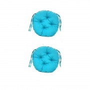 Set Perne decorative rotunde, pentru scaun de bucatarie sau terasa, diametrul 35cm, culoare albastru, 2 buc/set