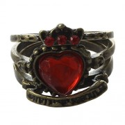 SODIAL(R) New 3pcs Retro Vintage Red Rhinestone Love Heart Crown Ring Queen of England Love Rings for Women Lady Girl
