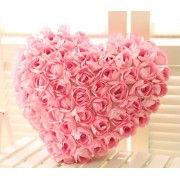 Valentine Best Gift Heart with Roses Pillow Soft Toy Plush Toy Figure Soft Toys for valentines day gift for boyfriend girlfriend - Smart Buy (Peach, 22cm)