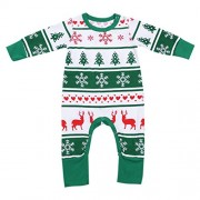 Rrimin Christmas Newborn Baby Snowflake Reindeer Christmas Tree Printed Romper(Green)(70cm)
