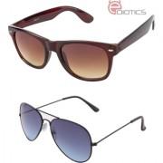 Ediotics Brown Wayfarer and Smoke Blue Aviator Sunglasses Combo