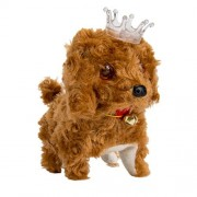 SumacLife Wonderful Gift Shop Walking Barking Wagging Electronic Brown Plush Puppy Toy with Crown on Head