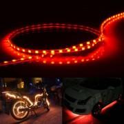 Stroom stijl 45 LED 3528 SMD waterdichte flexibele auto Strip licht voor auto decoratie DC 12V lengte: 90cm (rood licht)