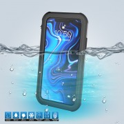 10m IP68 Waterproof Shock/Dirt/Snow Case for iPhone XS Max 6.5 inch with a Kickstand - All Black