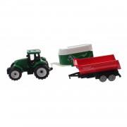 Toi-toys groene tractor met aanhangers groen/rood 7,5 cm