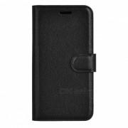 Patron litchi flip-abierto la caja de la PU para Samsung Galaxy A5 - Negro