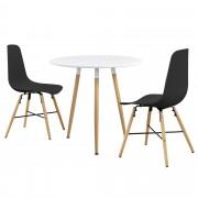 PremiumXL - [en.casa] Okrugli blagovaonski stol (bijeli) - sa 3 stolice (crna)