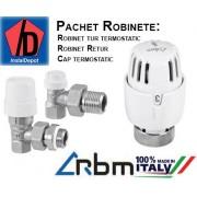 """Pachet robineti RBM 1/2"""" (tur, retur, cap termostatic)"""