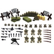 Magma Brick Brick: Weapons Set, Bunker, Weapon Boxs and Barbed Wires of German Soldier Special Force in Wortld War Ii for Customize Lego Minifigure