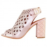 Sandale piele naturala dama - roz, Dogati shoes - toc inalt - 672-577-Roz
