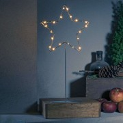 Standing LED metal star - silver with base
