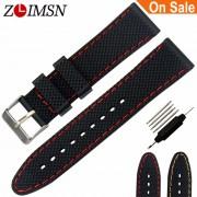 ZLIMSN 22 24mm Orange Red Stitch Waterproof Watch Strap Silver Steel Buckle Relojes Hombre 2017