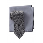 Ted Baker London Silk Tonal Paisley Tie Pocket Square Set BLACK