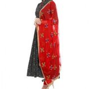 Weavers Villa Punjabi Hand Embroidery Phulkari Buty Work Faux Chiffon Red Dupatta Stoles
