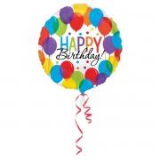 Balon folie Happy Birthday cu baloane 45 cm