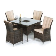Maze Rattan LA 4 Seat Square Dining Set With Ice Bucket Brown Flat Weave