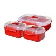 Set 3 cutii alimente pentru microunde Sistema Microwave