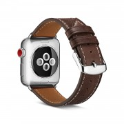 Top Layer Cowhide Leather Watch Strap Band Replace Part for Apple Watch Series 4 40mm, Series 3 / 2 / 1 38mm - Coffee