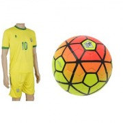 Combo of Ordem Orange/Yellow Football (Size-5) with Suit (Jersey + Shorts)