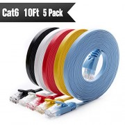 Cat 6 Ethernet Cable 10 ft (5 Pack) (at a Cat5e Price but Higher Bandwidth) Cat6 Internet Network Cable Flat - Ethernet Patch Cables Short - Computer LAN Cable Snagless RJ45 Connectors
