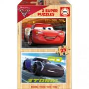 Puzzle din lemn Educa Cars 3 2x 25 piese