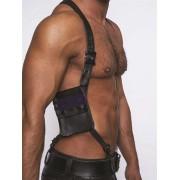 Mister B Leather Wallet Harness Black/Blue 601302