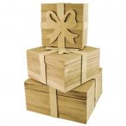Set trei cutii cadou din lemn cu fundita