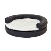 Hundebett, Hundekorb rund gross - schwarz mit Decke weiss