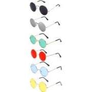 shah collections Round Sunglasses(Red, Yellow, Blue, Black, Blue, Green)