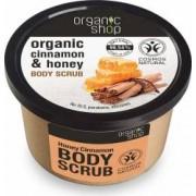 Scrub de corp Organic Shop delicios cu miere si scortisoara Honey Cinnamon, 250 ml