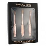 Makeup Revolution London Brushes Precision Eye Brush štětec dárková sada W - kosmetický štětec na oční stíny 1 ks kulatý + kosmetický štětec na oční stíny 1 ks oválný + kosmetický štětec na oční linky 1 ks