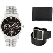 Crude Smart Combo Analog Watch-rg219 With Black Leather Belt Wallet