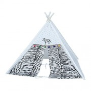 CREATIVE TEXTILES Cotton Black & White Tent House/ Play House for 3 yr and Above Kids (Size : 130H x 100W cm)