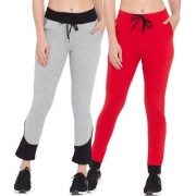 Cliths Cotton Trackpants for Women  Grey Black Red Black Slim Fit Cotton Track Jogger-Pack Of 2