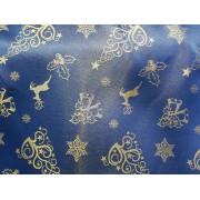 Material decor sau fete de masa albastru motive Craciun