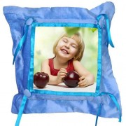Blue Satin Lace and Button Square Shaped Cushion With Personalized Photo