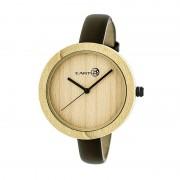 Earth Wood Yosemite Leather-Band Watch - Khaki/Tan ETHEW3701