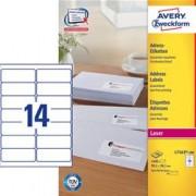 ORIGINAL AVERY Zweckform Articoli da ufficio L7163-100 Adress-Etiketten (99,1 x 38,1mm) Etichette per indirizzi AVERY, QuickPEEL, 99,1 x 38,1 mm, bianco, ProNature - certificato FSC, Contenuto: 1.400 etichette su 100 fogli A4