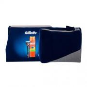 Gillette Fusion Proglide Flexball set cadou 1 aparat de ras + gel de bărbierit Fusion5 Ultra Sensitive 200 ml + geantă cosmetică pentru bărbați